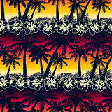 Tropical palm tree at sunset with hibiscus flowers seamless patt Royalty Free Stock Photo