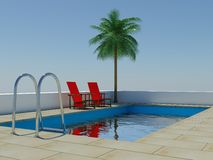 Tropical palm tree swimming pool. Image of a swimming pool and palm tree royalty free illustration