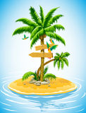Tropical palm tree on the uninhabited island. In the ocean -  illustration Royalty Free Stock Photos