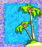 Tropical palm trees. 3-D, textured illustration of palm trees stock illustration