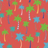 Tropical palm tree hand drawn red seamless pattern vector illustration
