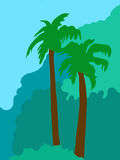 Tropical Palm Trees Illustration Stock Photo