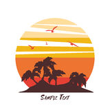 Tropical palm trees island silhouettes with Sunset. Royalty Free Stock Images