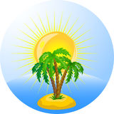 tropical palm trees in the ocean, vector Stock Image