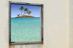 Tropical palm trees paradise islands window Royalty Free Stock Photography