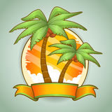 Tropical palm trees ribbon Stock Photography