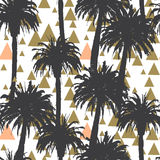 Tropical palm trees seamless background. In vector Stock Photo