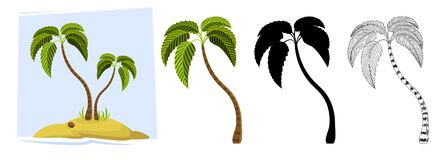 Tropical palm trees. Vector vector illustration