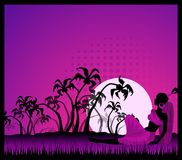 Tropical palms and African girl. Summer banner with tropical palms and African girl Stock Photo