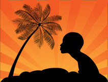 Tropical palms and African girl. Vector illustration Royalty Free Stock Images