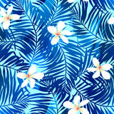 Tropical palms seamless pattern in blue with Frangipani flower.  Stock Photography