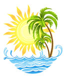 Tropical palms with sun and ocean. Vector illustration, isolated on white background Royalty Free Stock Photos