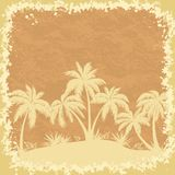 Tropical palms trees and grass silhouettes Stock Images