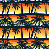 Tropical palms trees at sunset in a seamless pattern.  Stock Photo