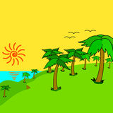 Tropical palms on the tropical island at sunset. Royalty Free Stock Images