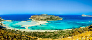 Tropical panoramic image of beach in the Balos bay stock images