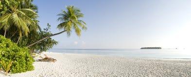 Tropical panoramic view of Ihuru Island Maldives Royalty Free Stock Images