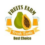 Tropical papaya fruit with juice cartoon sign Royalty Free Stock Photography