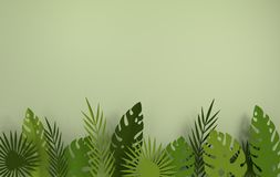 Tropical paper palm leaves frame. Summer tropical green leaf. Origami exotic hawaiian jungle foliage, summertime background. Paper. Cut. Minimal style. 3d stock illustration