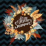 Tropical paper palm leaves round frame. Summer tropical leaf. Hello Summer greeting card, invitation, invitations with Royalty Free Stock Photography