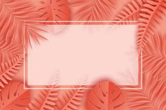 Tropical paper palm, monstera leaves frame. Summer tropical leaf. Origami exotic hawaiian jungle, summertime background. Paper cut. Minimal. Pastel art Stock Photo