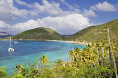 Tropical paradise. Beautiful view of lush green mountainside of the British Virgin Islands Royalty Free Stock Photo