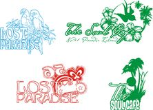 Tropical paradise. Loss of paradise birds, flowers, butterflies and palm consisting of graphic vector illustration