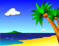 Tropical Paradise. A bold illustration of a tropical island, complete with ocean, trees, beach, blue sky, and puffy whight clouds royalty free illustration