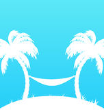 Tropical paradise background with palm trees and h Royalty Free Stock Photo