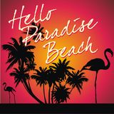 Tropical paradise beach. Illustration of black silhouetted tropical palm trees and flamingo birds with red sunset and words, hello paradise beach stock illustration