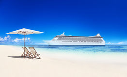 Tropical Paradise Beach with the Cruise.  Royalty Free Stock Photos