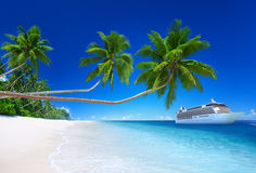 Tropical Paradise Beach Cruise Ocean Concept Stock Photos