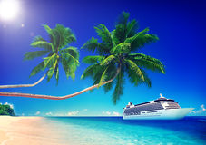 Tropical Paradise Beach Cruise Ocean Concept Stock Images