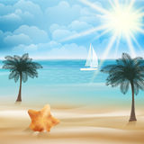 Tropical paradise beach with Starfish Stock Images
