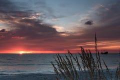 Tropical paradise beach sunset Stock Photo