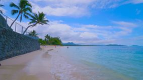 Tropical paradise beach with white sand and coco palms travel tourism wide panorama background concept in hawai 2019 stock image