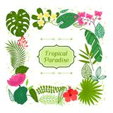 Tropical paradise card with stylized leaves and Royalty Free Stock Images
