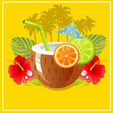 Tropical paradise. Coconut drink with coconut tree in background make summer or holiday theme Stock Photo