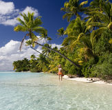 Tropical Paradise - The Cook Islands. Vacation Paradise - Aitutaki Lagoon in the Cook Islands in the South Pacific Ocean Royalty Free Stock Photo