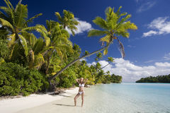 Tropical Paradise - The Cook Islands. Vacation Paradise - Aitutaki Lagoon in the Cook Islands in the South Pacific Ocean Stock Image