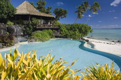 Tropical Paradise - The Cook Islands. A luxury beach resort in Aitutaki in the Cook Islands in the South Pacific Stock Image