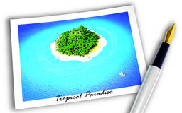 Tropical Paradise. Illustartion of tropical island on postcard with pen Stock Image