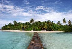Tropical paradise island. Paradise of Maldives - tropical island Hudhuranfushi Royalty Free Stock Image