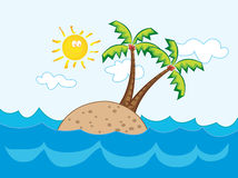 Tropical paradise island. Illustrated cartoon Royalty Free Stock Photo