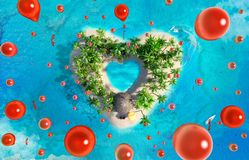 Tropical paradise island in the form of heart with flying red balloons, bird eye view. Tropical paradise island in the form of heart with flying red balloons Royalty Free Stock Photography