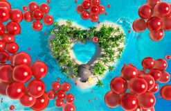 Tropical paradise island in the form of heart with flying red balloons. Aerial view. 3D illustration Royalty Free Stock Photography