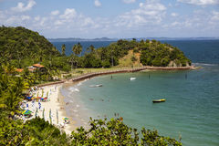Tropical paradise on the island of Frades in the Bay of All Saints in Salvador Bahia. Brazil royalty free stock image
