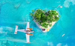 Tropical paradise island with sand, palms, desk chairs and flying plane, aerial view stock illustration