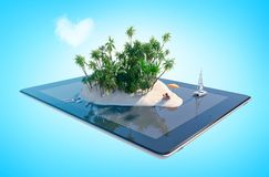Tropical paradise island in the shape of heart on tablet screen. Tropical paradise island in the shape of heart with sand, palms, desk chairs and yacht on tablet Royalty Free Stock Image