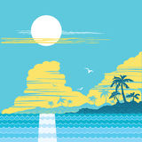 Tropical paradise island.Vector palms poster Royalty Free Stock Image